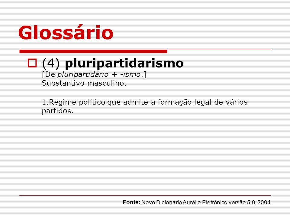 Glossário (4) pluripartidarismo [De pluripartidário + -ismo.] Substantivo masculino.
